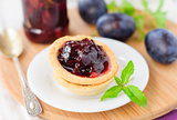 Plum, Orange and Mint Jam in Small Tart Shells (Tartlets)
