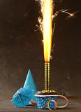 festive birthday dessert cake with lighted fireworks