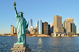 Statue of Liberty and Manhattah skyline.