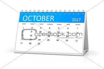 blue table calendar 2017 october