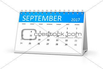 blue table calendar 2017 september