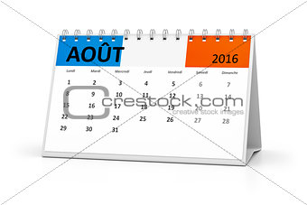french language table calendar 2016 august