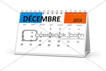 french language table calendar 2016 december
