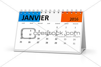 french language table calendar 2016 january