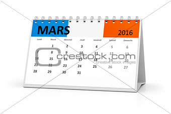 french language table calendar 2016 march