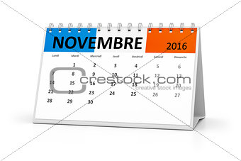 french language table calendar 2016 november