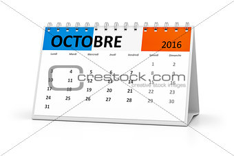 french language table calendar 2016 october