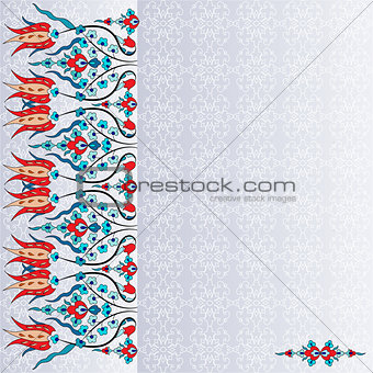 Antique ottoman turkish pattern vector design ninety six