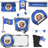 Glossy icons with flag of state Minnesota