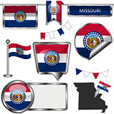 Glossy icons with flag of state Missouri