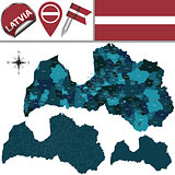 Map of Latvia with named divisions