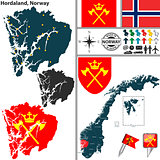 Map of Hordaland, Norway