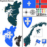 Map of Rogaland, Norway