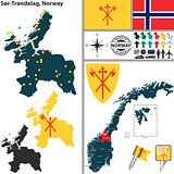 Map of Sor-Trondelag, Norway