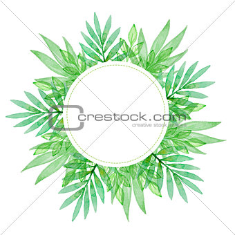 Watercolor background with green leaves