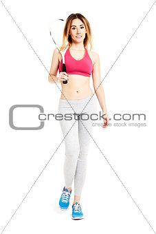 Attractive sportswoman walking
