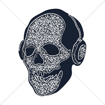skull in earphones