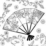 Oriental fan zentagle