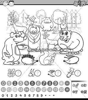 counting animals coloring book