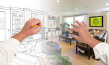 Hands Drawing Living Room Design Gradating Into Photograph