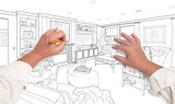 Hands Drawing Custom Living Room Design on White