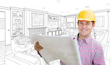 Contractor Holding Blueprints Over Custom Living Room Drawing