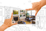Hands Framing Custom Living Room Drawing Photograph Combination