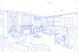 Blue Line Drawing of a Custom Living Room