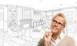 Woman With Pencil Over Living Room Design Drawing