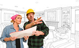 Contractor Talking Plans With Woman Over Custom Living Room Draw