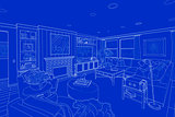 White Line Drawing On Blue of a Custom Living Room