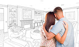 Military Couple Looking Over Custom Living Room Design Drawing