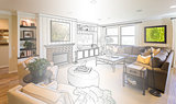 Living Room Drawing Gradation Into Photograph