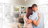 Military Couple Looking Over Living Room Design Drawing Photo Co