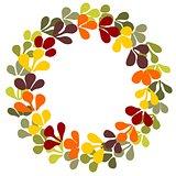 Pastel autumn laurel wreath vector frame on white background