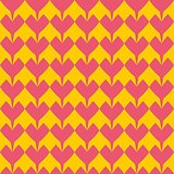 Tile vector pattern with pink hearts on yellow background