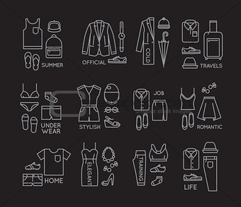 Flat clothes complect icons black