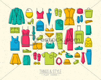 Flat clothes icons color