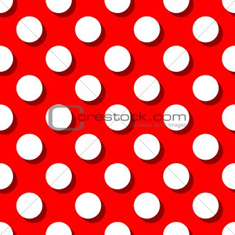 Tile vector pattern with big white polka dots on red background