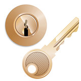 round Pin tumbler lock and key