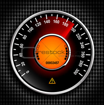 Automobile analog speedometer with a red arrow