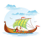 Cartoon image of the Viking merchant ships S.VI