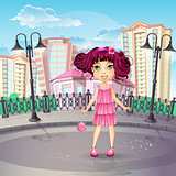 Image of the city promenade with a teen girl in a pink dress