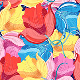 Graphic pattern of colorful flowers