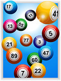 Bingo balls over portrait panel