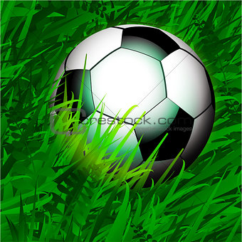 Football over close up grass