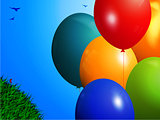Spring background with colourful balloons