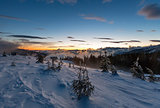 Sunrise winter mountain landscape (Carpathian).