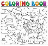 Coloring book farmer with harvest 2