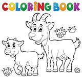 Coloring book with happy goats